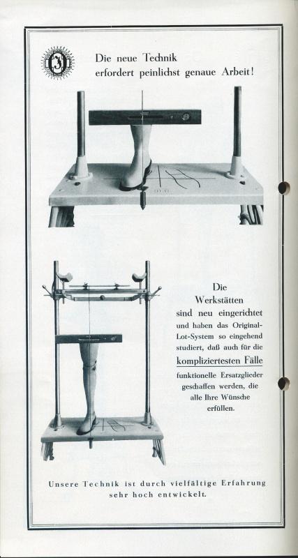 Stránka z brožury o nových originálních závěsných protézách z 20. let 20. století