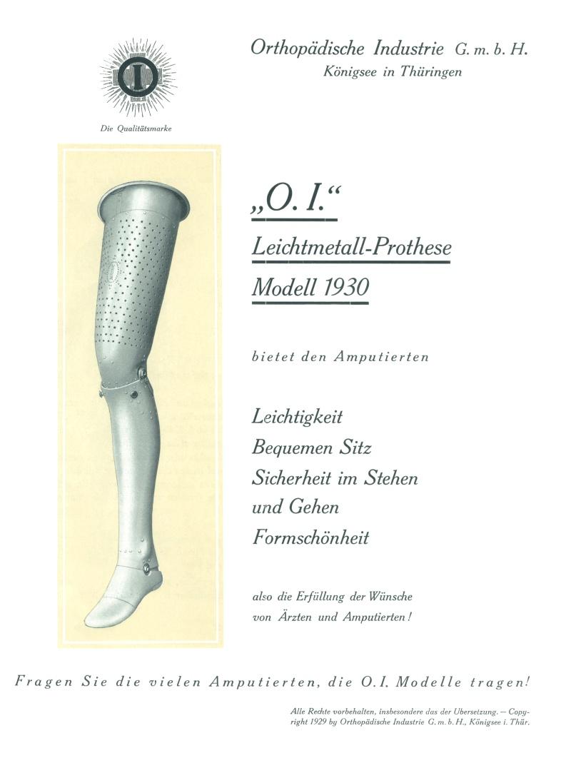 Inzerát na plechovou protézu, 1929