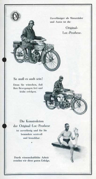 Z brožury o nových originálních protézách se stavbou pomocí olovnice, 20. léta 20. stol.