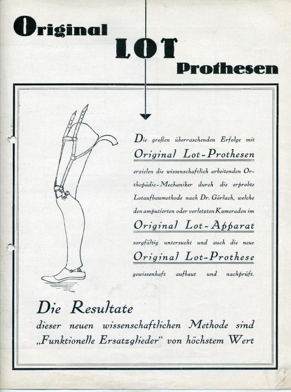 Leták o originální protéze stavěné podle olovnice, 1927