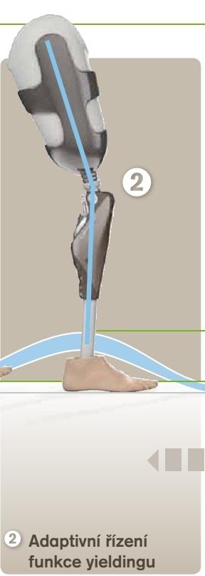 Inteligentní regulace flexe (ohnutí) kolene - max. 17° nezávislá na silách působících na protézu. Amputovaný se musí řízení protézy věnovat podstatně méně a používá ji spíše intuitivně.