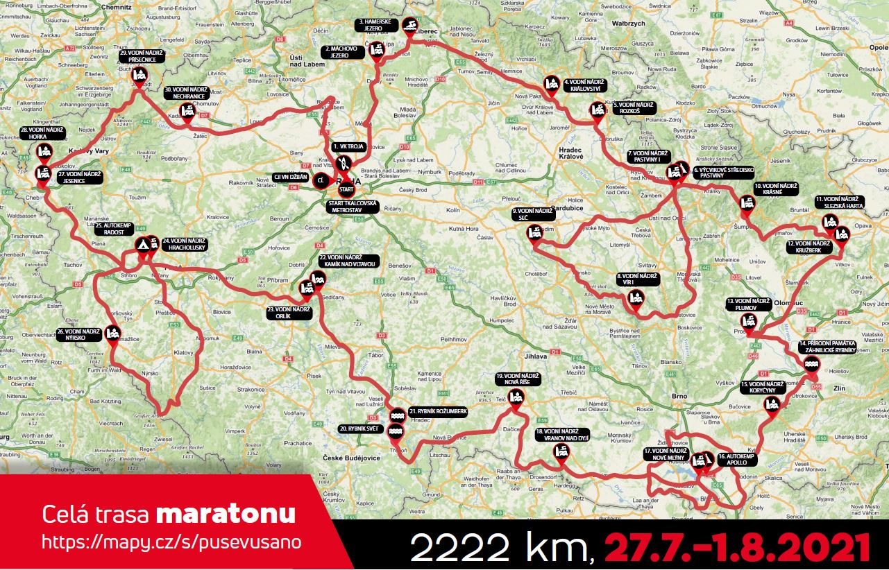 Kompletní trasa cyklomaratonu 2021